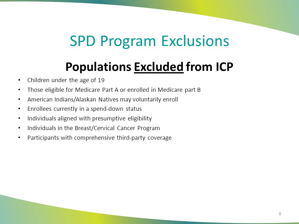 SPD Program Exclusions Populations Excluded from ICP Children under the age of 19 Those eligible for Medicare Part A or enrolled in Medicare part B Am
