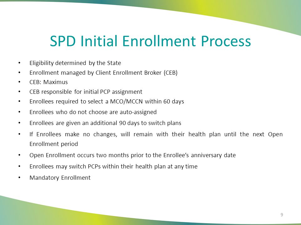 SPD Initial Enrollment Process Eligibility determined by the State Enrollment managed by Client Enrollment Broker (CEB) CEB: Maximus CEB responsible f