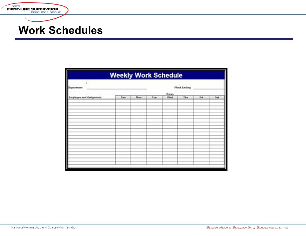 National Aeronautics and Space Administration Work Schedules 10