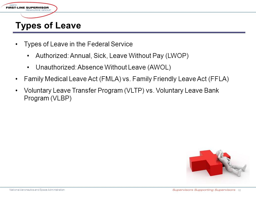 National Aeronautics and Space Administration Types of Leave 18 Types of Leave in the Federal Service Authorized: Annual, Sick, Leave Without Pay (LWO