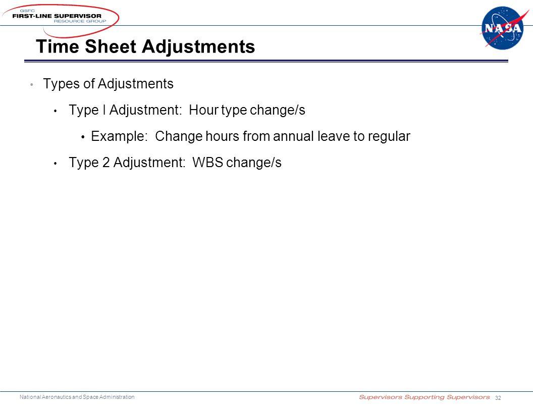 National Aeronautics and Space Administration Time Sheet Adjustments Types of Adjustments Type I Adjustment: Hour type change/s Example: Change hours