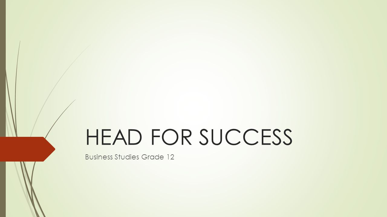 HEAD FOR SUCCESS Business Studies Grade 12