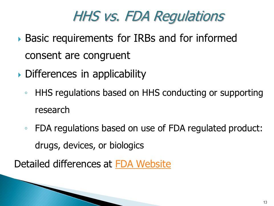 13 HHS vs. FDA Regulations HHS vs.