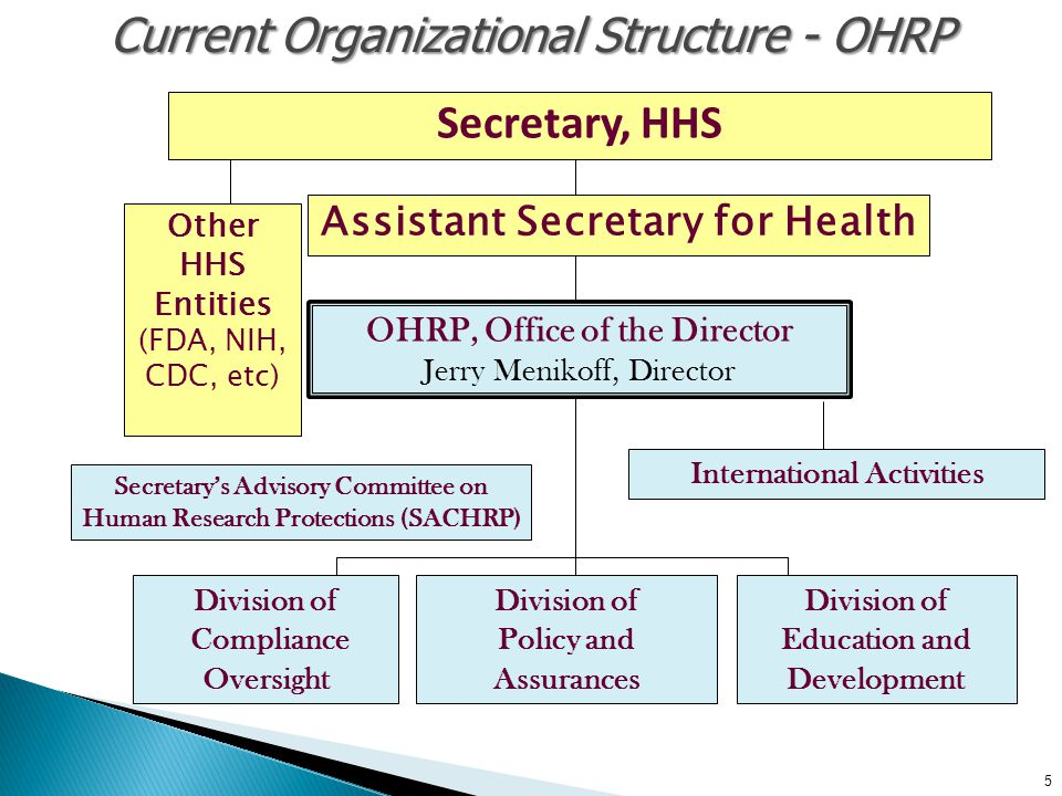 Assistant Secretary for Health 5 Current Organizational Structure - OHRP Secretary, HHS Other HHS Entities (FDA, NIH, CDC, etc) OHRP, Office of the Di