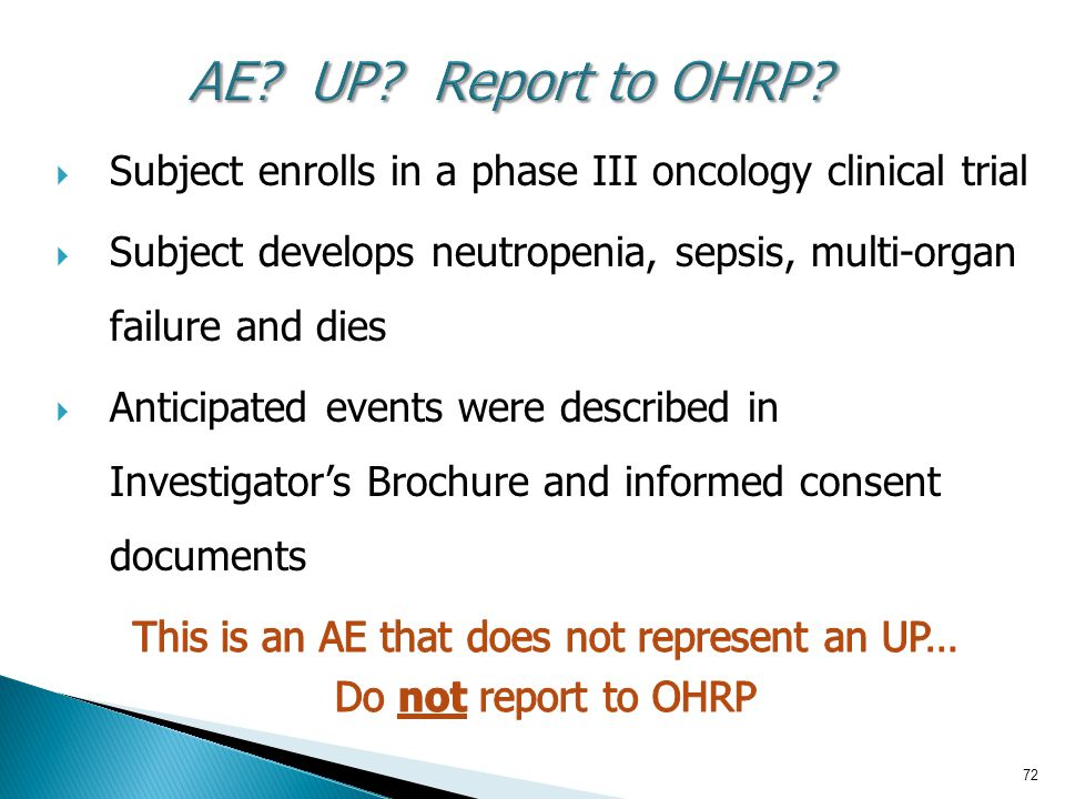 72 AE UP Report to OHRP