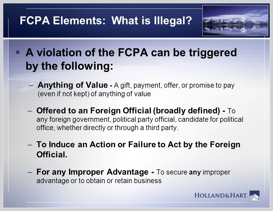 14 FCPA Elements: What is Illegal.