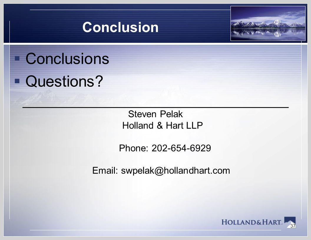 37 Conclusion  Conclusions  Questions.