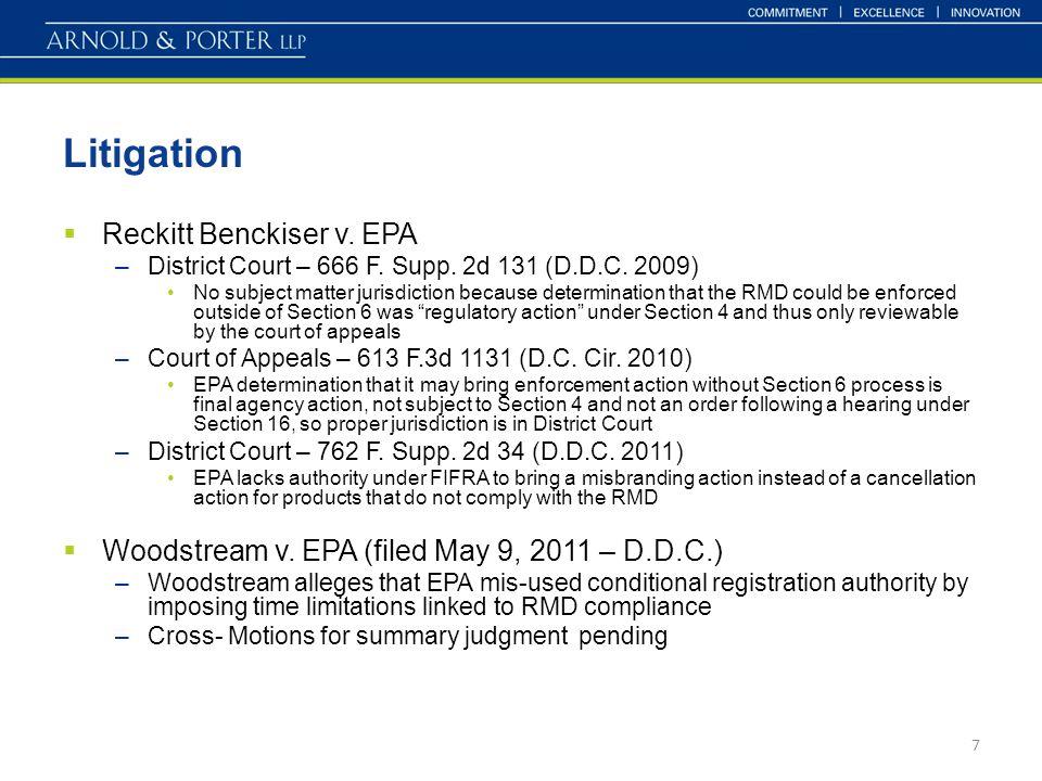Litigation  Reckitt Benckiser v. EPA –District Court – 666 F.