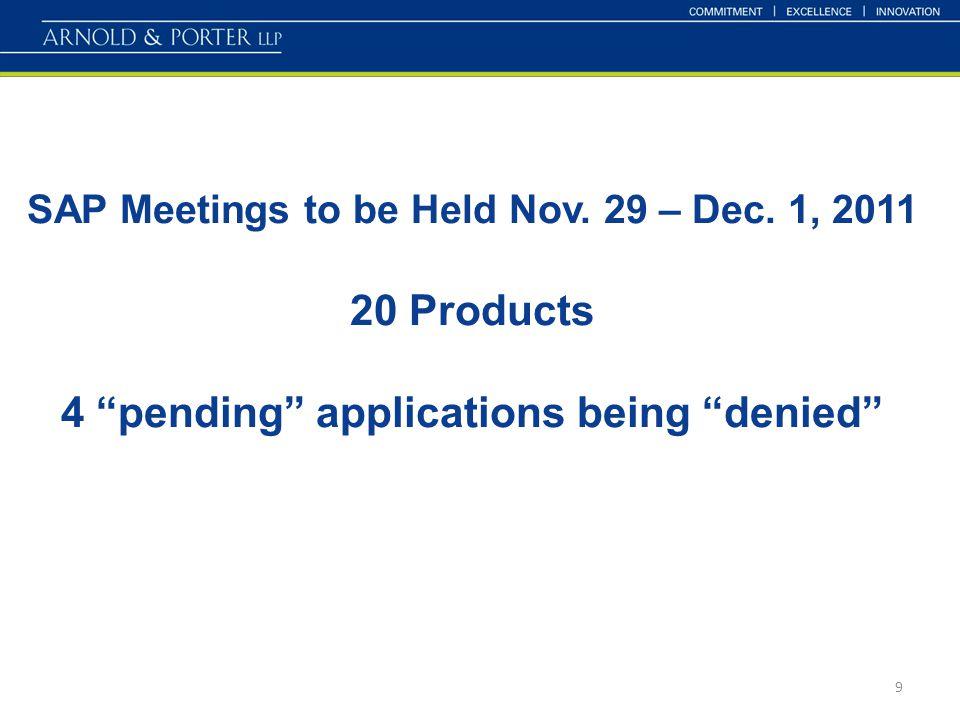 SAP Meetings to be Held Nov. 29 – Dec.