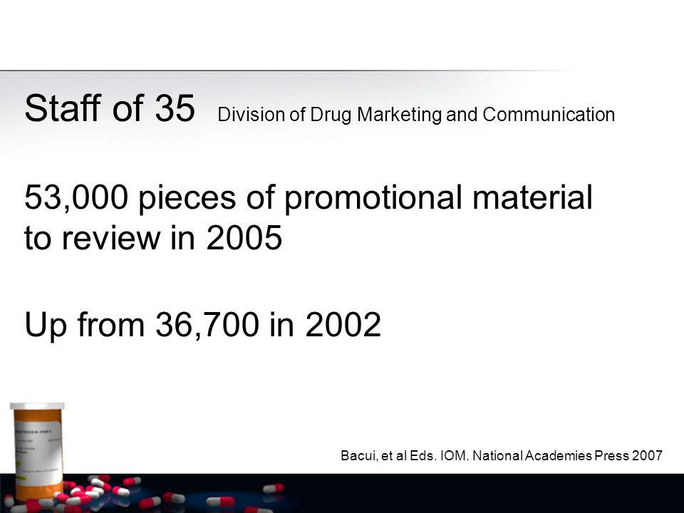 Staff of 35 Division of Drug Marketing and Communication 53,000 pieces of promotional material to review in 2005 Up from 36,700 in 2002 Bacui, et al E