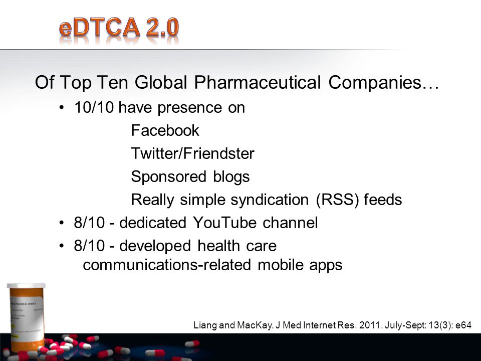Of Top Ten Global Pharmaceutical Companies… 10/10 have presence on Facebook Twitter/Friendster Sponsored blogs Really simple syndication (RSS) feeds 8/10 - dedicated YouTube channel 8/10 - developed health care communications-related mobile apps Liang and MacKay.