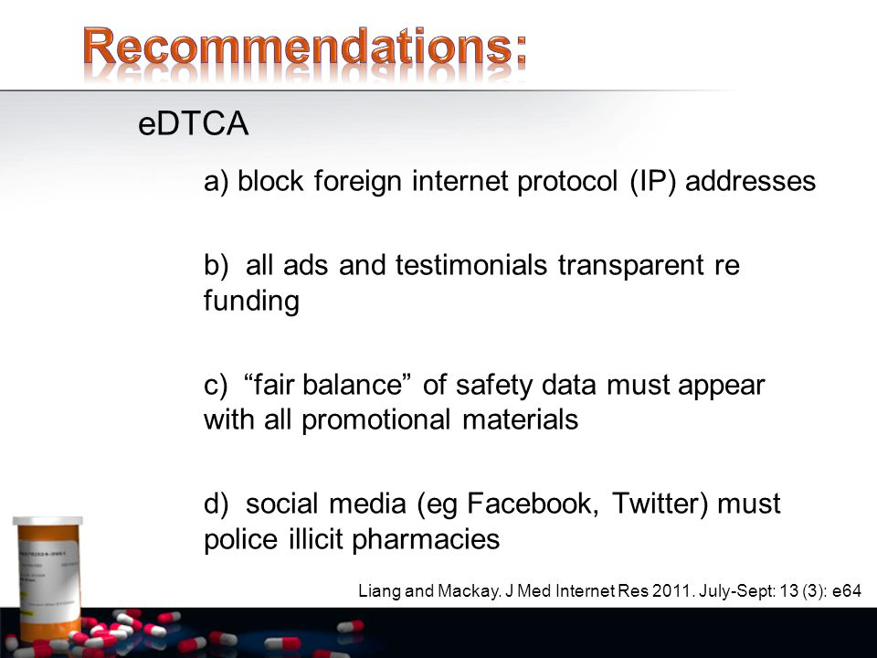 a) block foreign internet protocol (IP) addresses b) all ads and testimonials transparent re funding c) fair balance of safety data must appear with all promotional materials d) social media (eg Facebook, Twitter) must police illicit pharmacies Liang and Mackay.