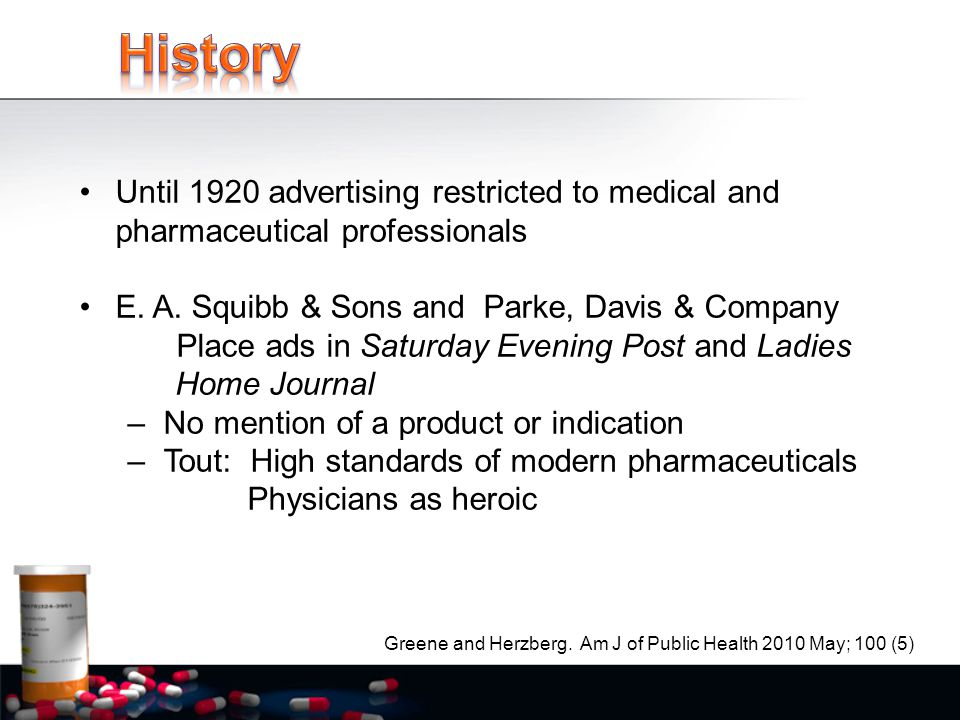 Until 1920 advertising restricted to medical and pharmaceutical professionals E.