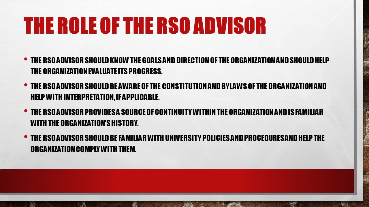 THE ROLE OF THE RSO ADVISOR THE RSO ADVISOR SHOULD KNOW THE GOALS AND DIRECTION OF THE ORGANIZATION AND SHOULD HELP THE ORGANIZATION EVALUATE ITS PROGRESS.