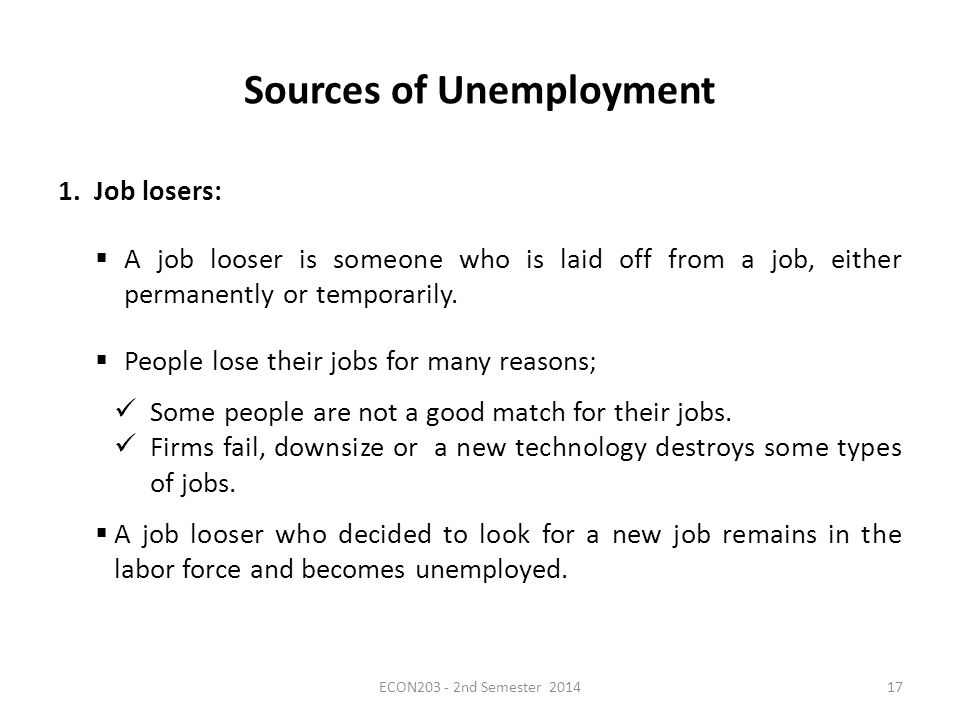 Sources of Unemployment 1.Job losers:  A job looser is someone who is laid off from a job, either permanently or temporarily.