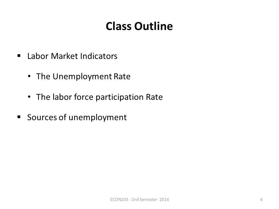 Class Outline  Labor Market Indicators The Unemployment Rate The labor force participation Rate  Sources of unemployment ECON203 - 2nd Semester 20144