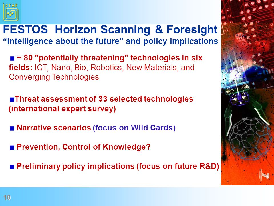 10 ~ 80 potentially threatening technologies in six fields: ICT, Nano, Bio, Robotics, New Materials, and Converging Technologies FESTOS Horizon Scanning & Foresight intelligence about the future and policy implications Threat assessment of 33 selected technologies (international expert survey) Narrative scenarios (focus on Wild Cards) Prevention, Control of Knowledge.