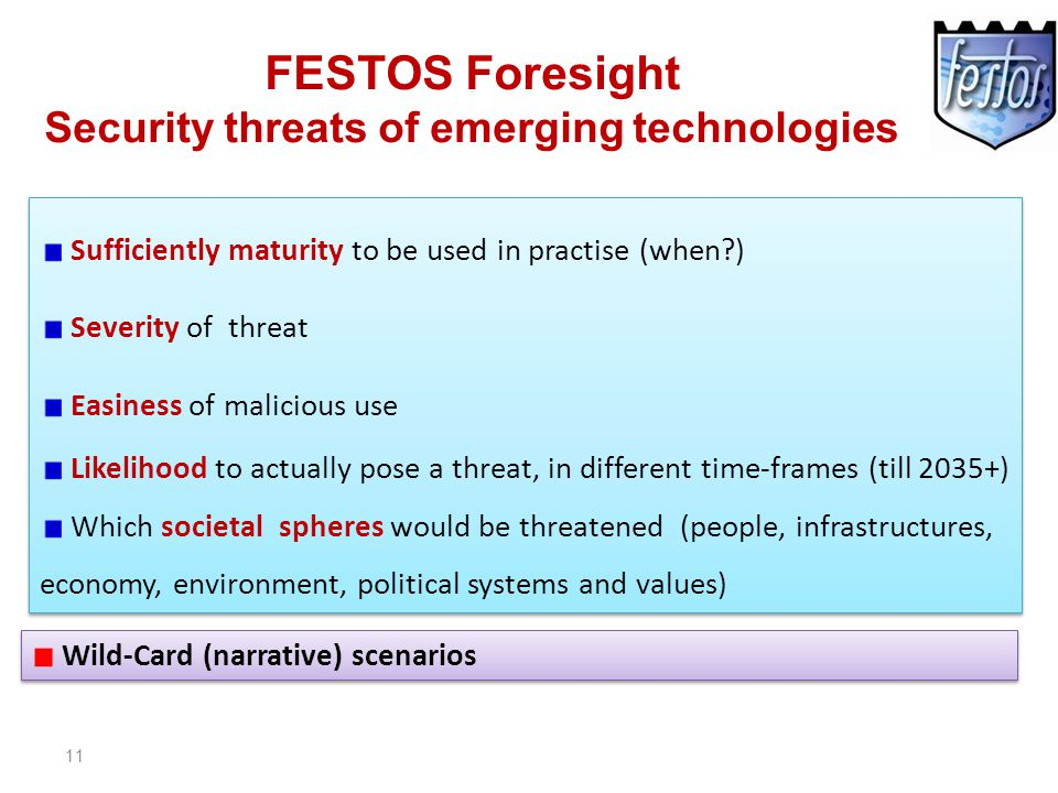 11 FESTOS Foresight Security threats of emerging technologies Sufficiently maturity to be used in practise (when?) Severity of threat Easiness of malicious use Likelihood to actually pose a threat, in different time-frames (till 2035+) Which societal spheres would be threatened (people, infrastructures, economy, environment, political systems and values) Sufficiently maturity to be used in practise (when?) Severity of threat Easiness of malicious use Likelihood to actually pose a threat, in different time-frames (till 2035+) Which societal spheres would be threatened (people, infrastructures, economy, environment, political systems and values) Wild-Card (narrative) scenarios