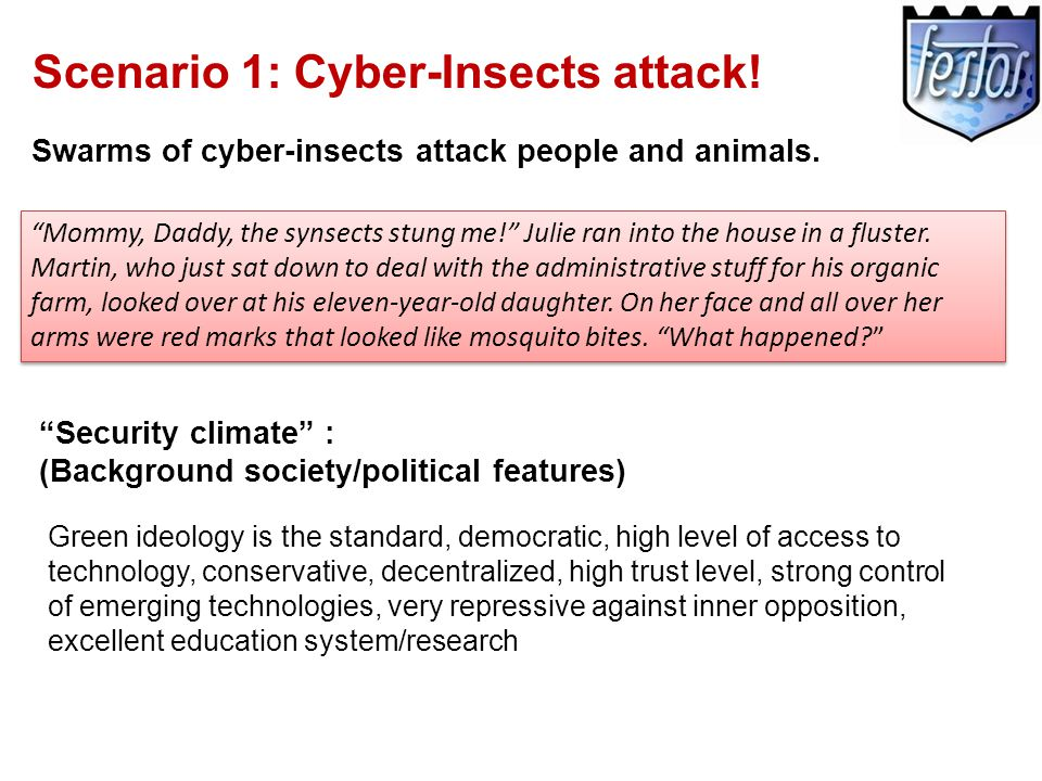 Scenario 1: Cyber-Insects attack. Swarms of cyber-insects attack people and animals.