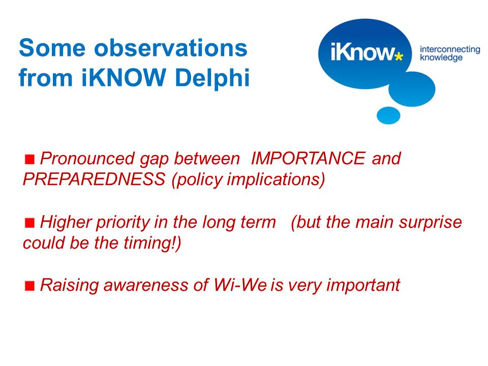 Some observations from iKNOW Delphi Pronounced gap between IMPORTANCE and PREPAREDNESS (policy implications) Higher priority in the long term (but the main surprise could be the timing!) Raising awareness of Wi-We is very important