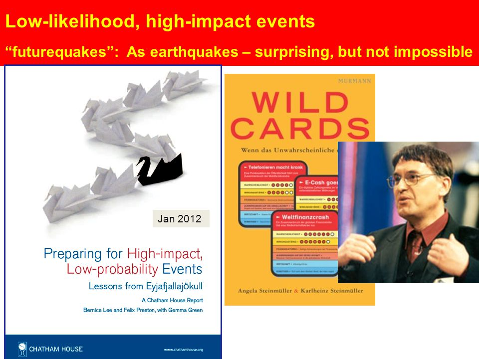 "Low-likelihood, high-impact events ""futurequakes"": As earthquakes – surprising, but not impossible Jan 2012"