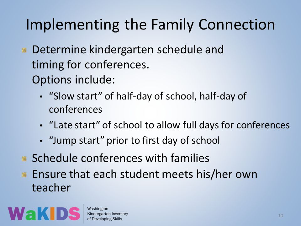 Implementing the Family Connection Determine kindergarten schedule and timing for conferences.