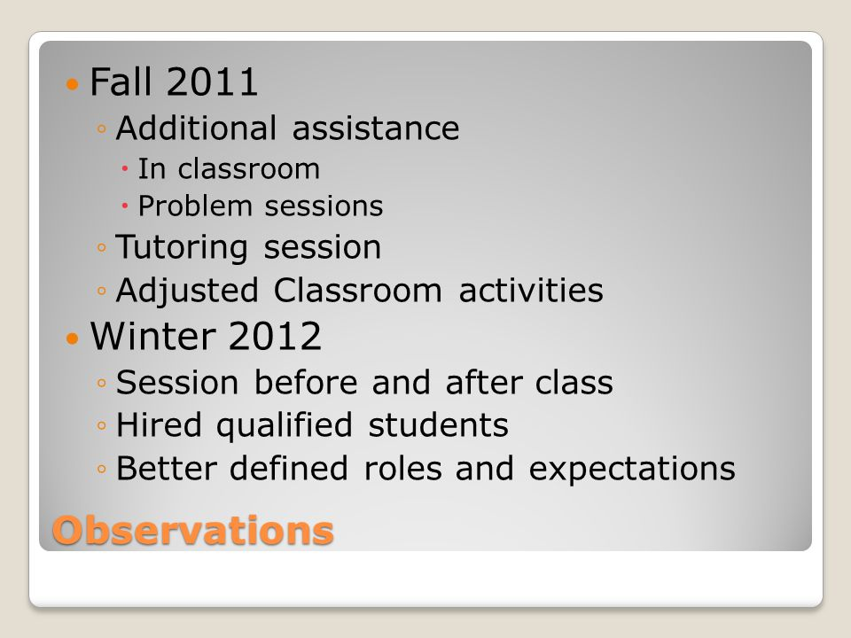 Observations Fall 2011 ◦Additional assistance  In classroom  Problem sessions ◦Tutoring session ◦Adjusted Classroom activities Winter 2012 ◦Session before and after class ◦Hired qualified students ◦Better defined roles and expectations