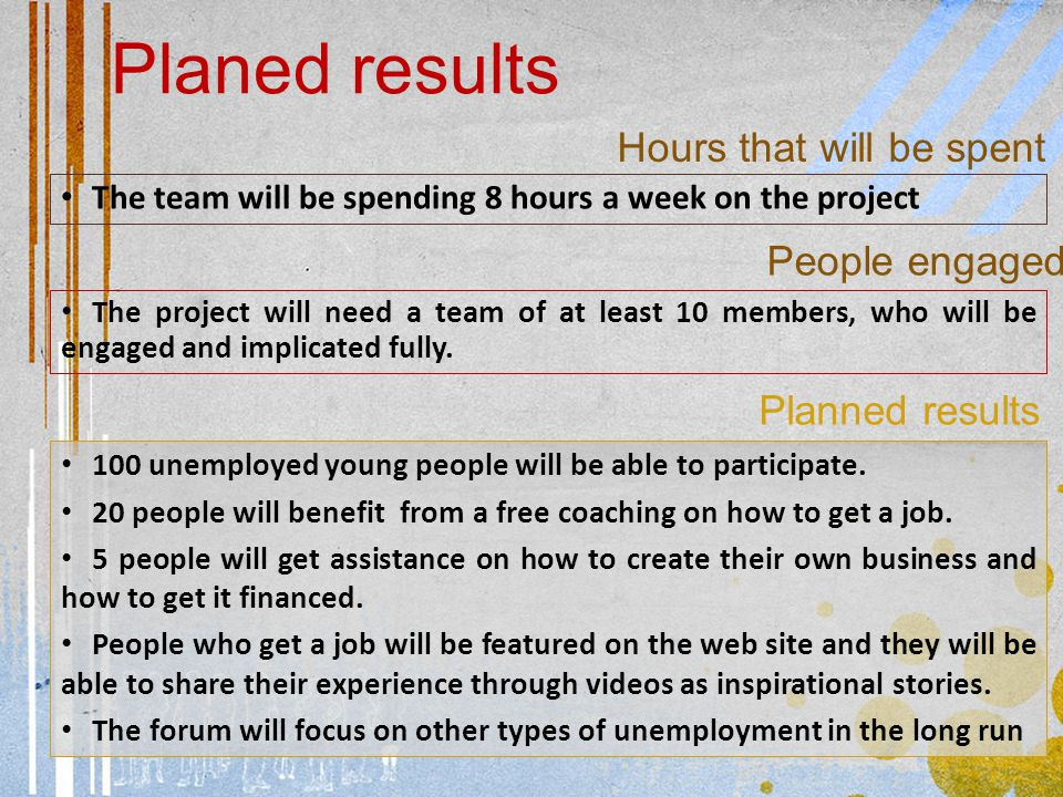 Planed results 100 unemployed young people will be able to participate.
