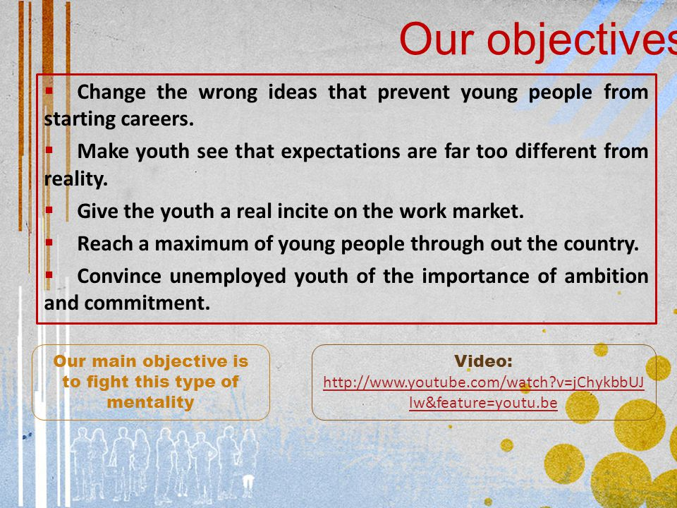  Change the wrong ideas that prevent young people from starting careers.