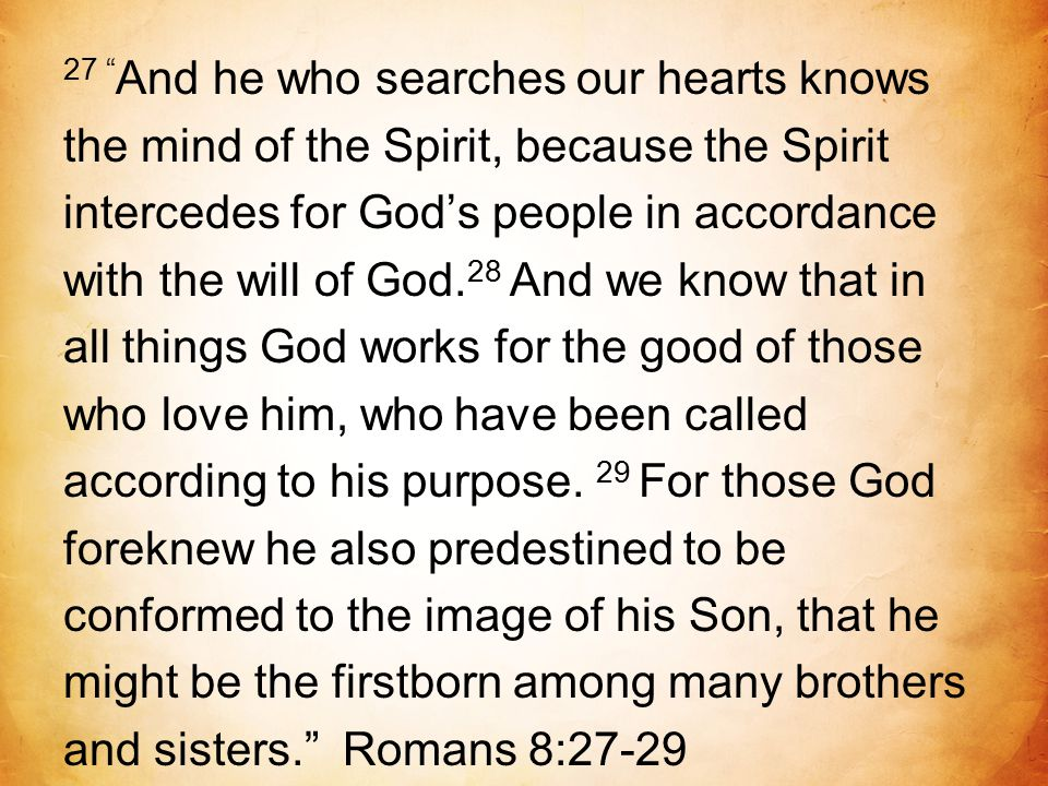 "27 "" And he who searches our hearts knows the mind of the Spirit, because the Spirit intercedes for God's people in accordance with the will of God. 2"