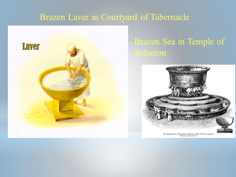 Brazen Laver in Courtyard of Tabernacle Brazen Sea in Temple of Solomon
