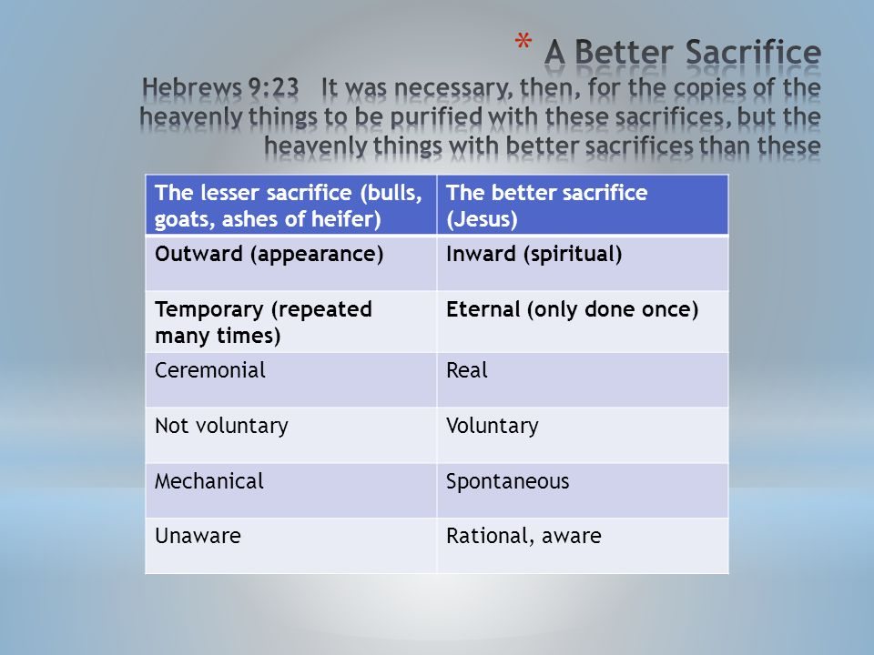 The lesser sacrifice (bulls, goats, ashes of heifer) The better sacrifice (Jesus) Outward (appearance)Inward (spiritual) Temporary (repeated many times) Eternal (only done once) CeremonialReal Not voluntaryVoluntary MechanicalSpontaneous UnawareRational, aware