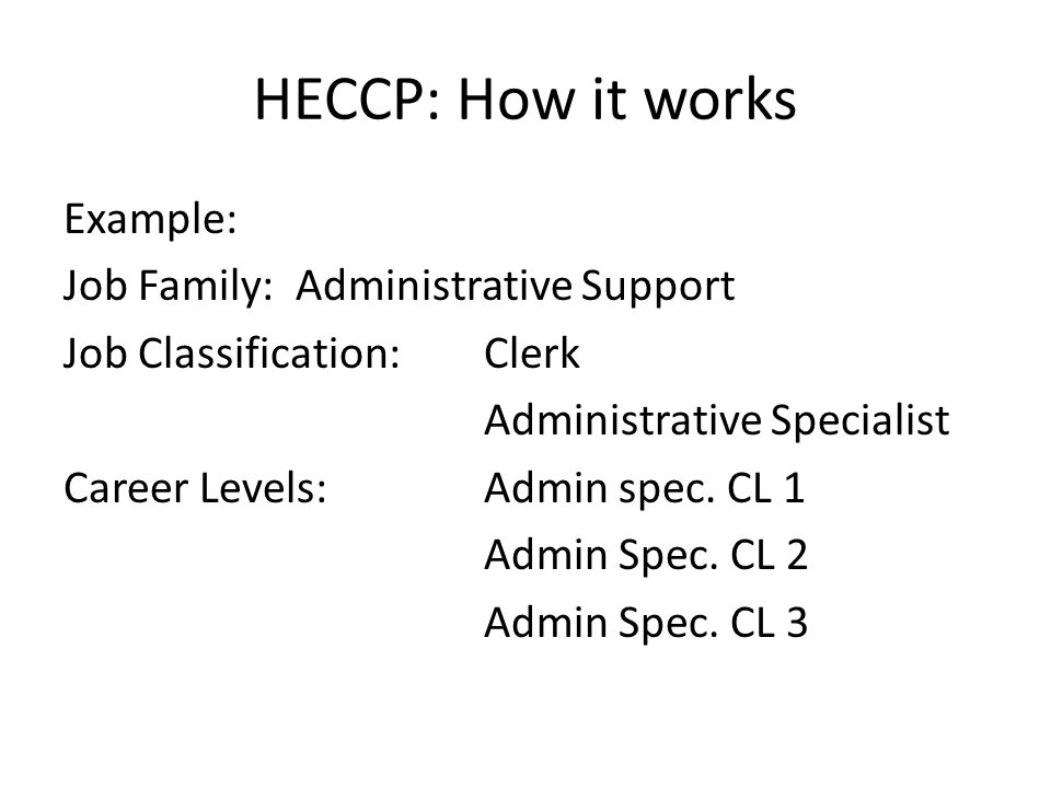 HECCP: How it works Example of Individual possibilities : Employee is currently AA II.