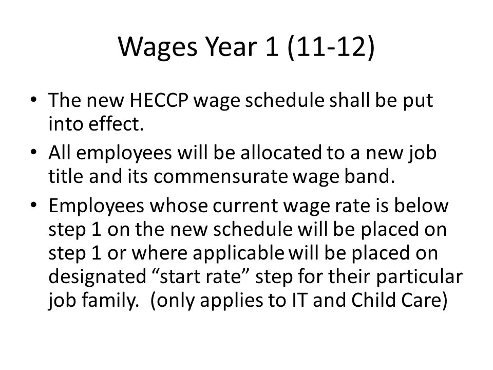 Wages Year 1 (11-12) The new HECCP wage schedule shall be put into effect.