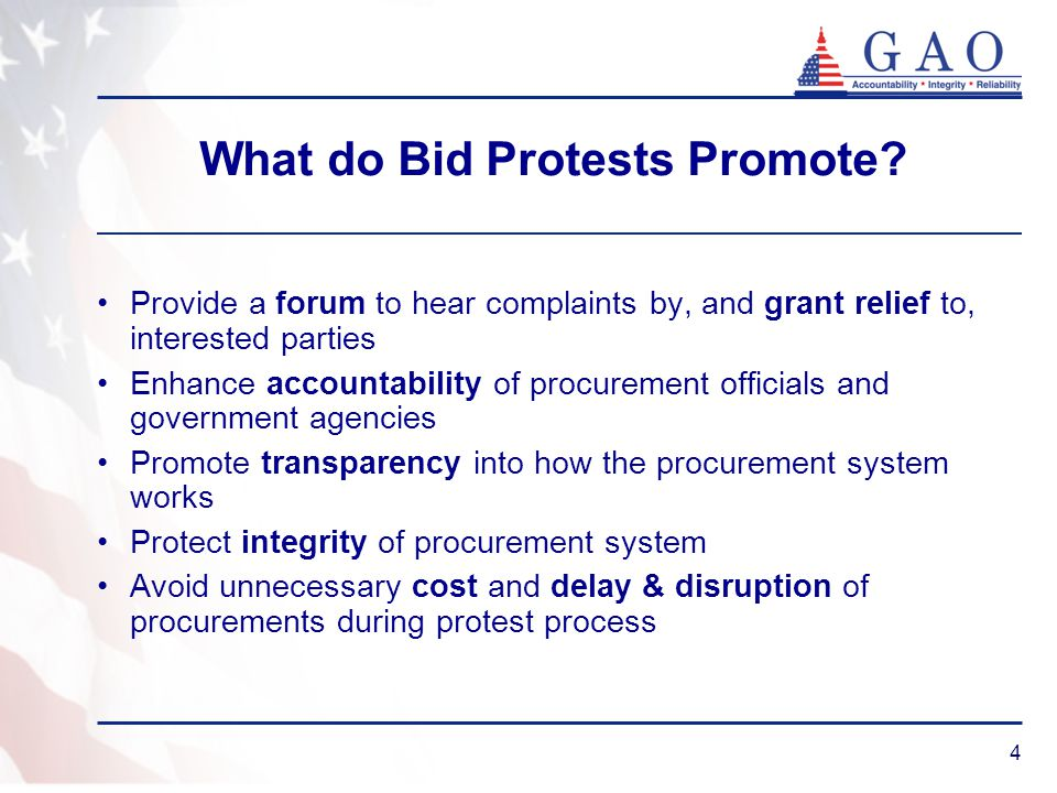 4 What do Bid Protests Promote.