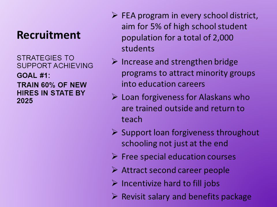 Recruitment  FEA program in every school district, aim for 5% of high school student population for a total of 2,000 students  Increase and strength