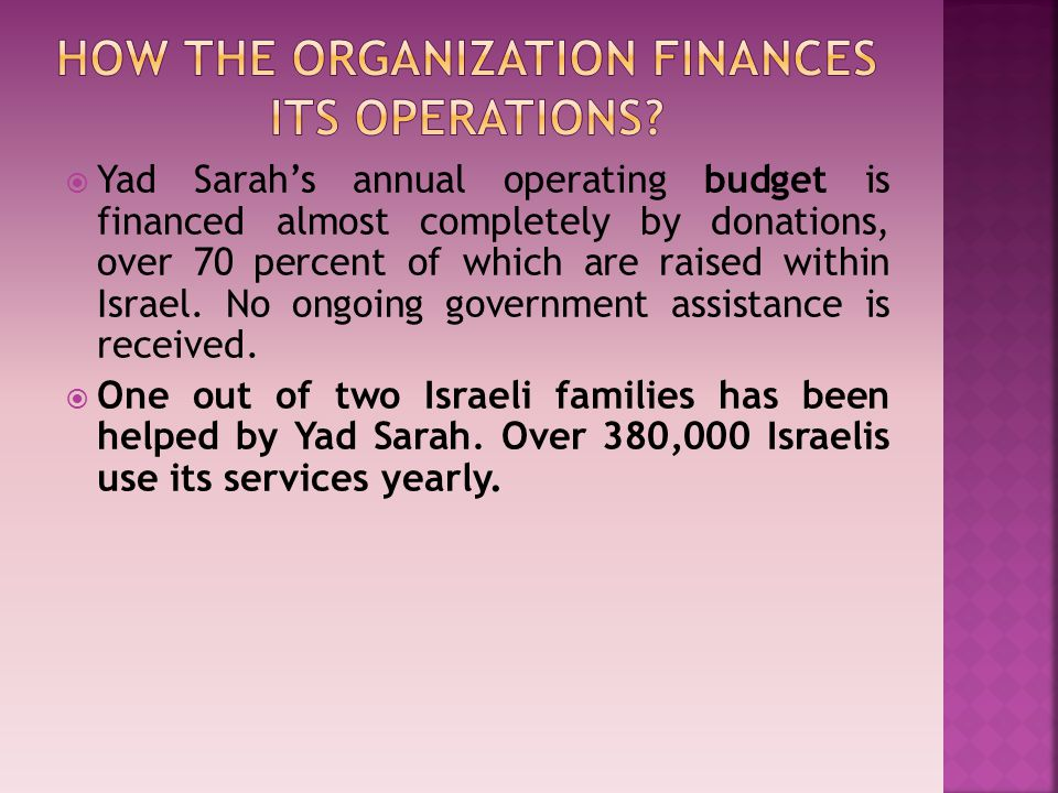  Yad Sarah's annual operating budget is financed almost completely by donations, over 70 percent of which are raised within Israel.