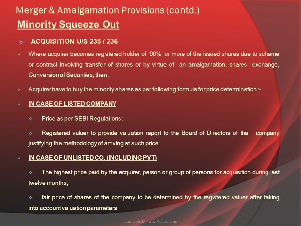 Merger & Amalgamation Provisions (contd.)  Under section 234 of the Act, Indian Company can be Transferor as well as Transferee Company.  Subject to