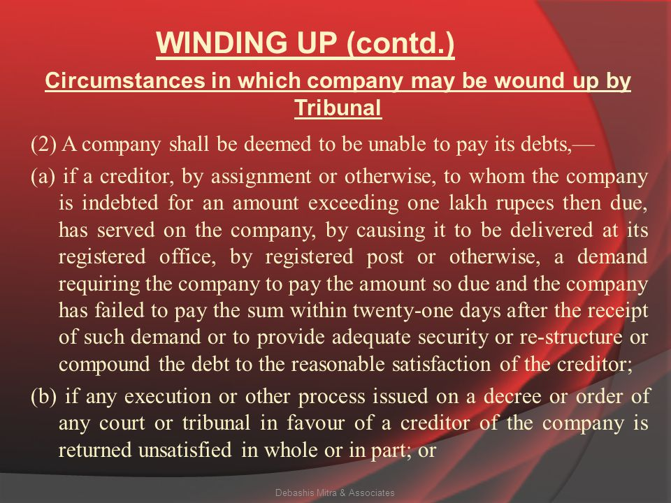 WINDING UP (contd.) (e) if on an application made by the Registrar or any other person authorised by the Central Government by notification under this