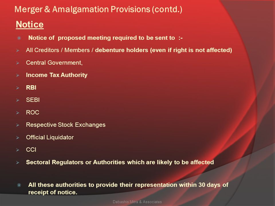 Merger & Amalgamation Provisions under the Companies Act, 2013  An application under Section 230 for Compromise / Arrangement / Amalgamation, have to