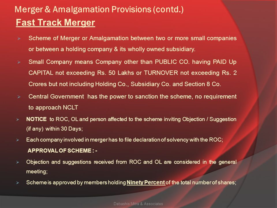 Merger & Amalgamation Provisions (contd.) (1) Where the Tribunal makes an order under section 230 sanctioning a compromise or an arrangement in respec