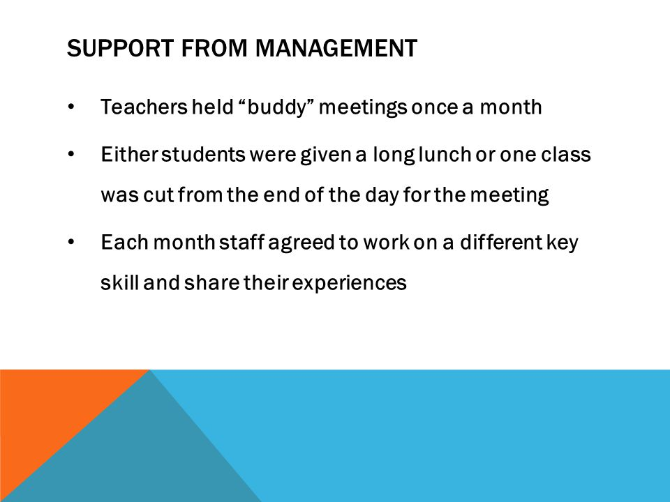 "SUPPORT FROM MANAGEMENT Teachers held ""buddy"" meetings once a month Either students were given a long lunch or one class was cut from the end of the d"