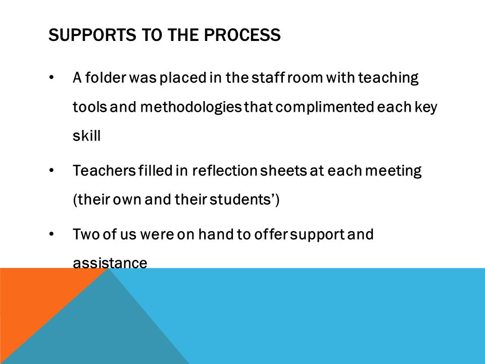 SUPPORTS TO THE PROCESS A folder was placed in the staff room with teaching tools and methodologies that complimented each key skill Teachers filled in reflection sheets at each meeting (their own and their students') Two of us were on hand to offer support and assistance