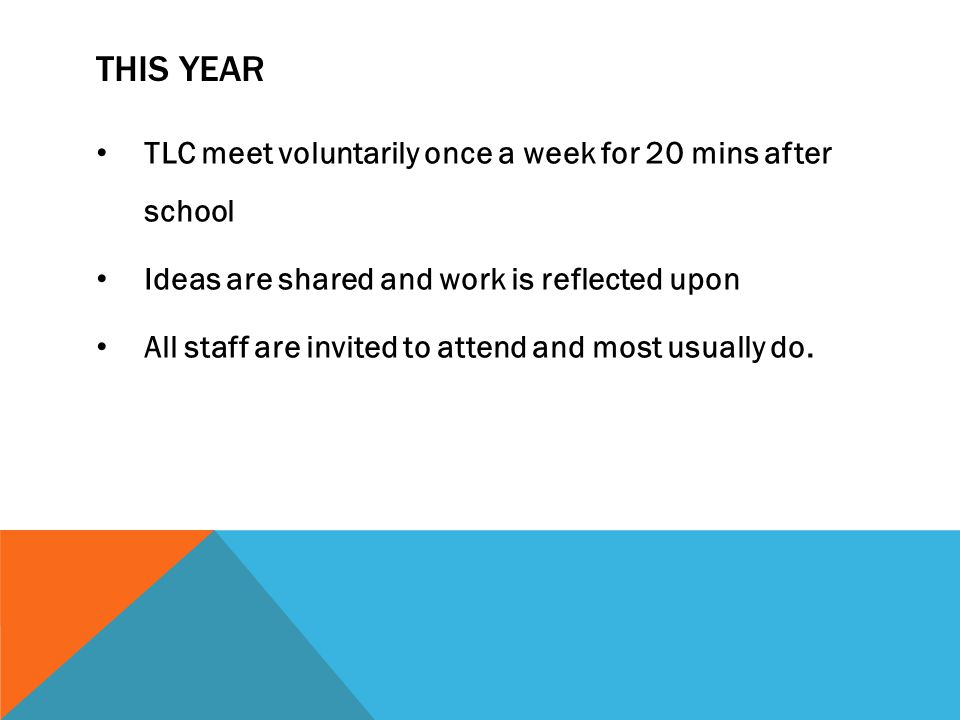 THIS YEAR TLC meet voluntarily once a week for 20 mins after school Ideas are shared and work is reflected upon All staff are invited to attend and most usually do.