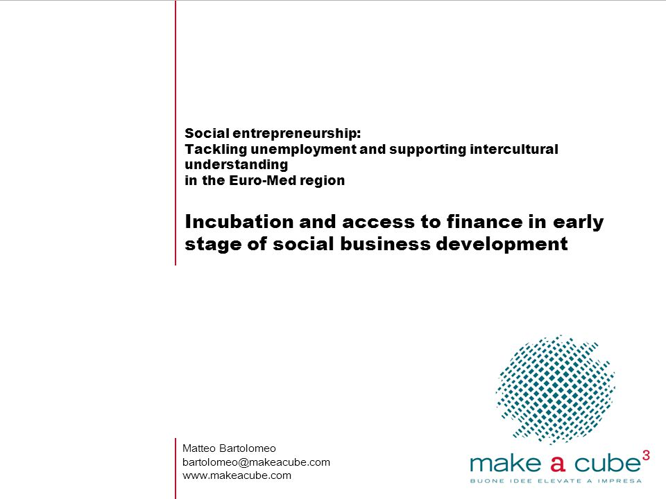Social entrepreneurship: Tackling unemployment and supporting intercultural understanding in the Euro-Med region Incubation and access to finance in e