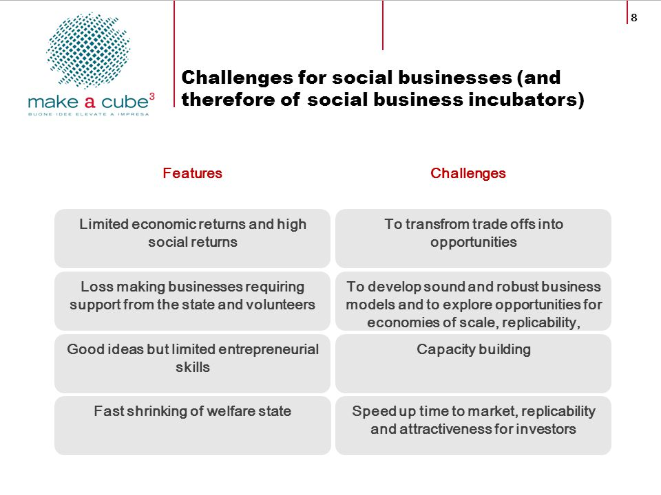 8 Features Challenges for social businesses (and therefore of social business incubators) Limited economic returns and high social returns Loss making
