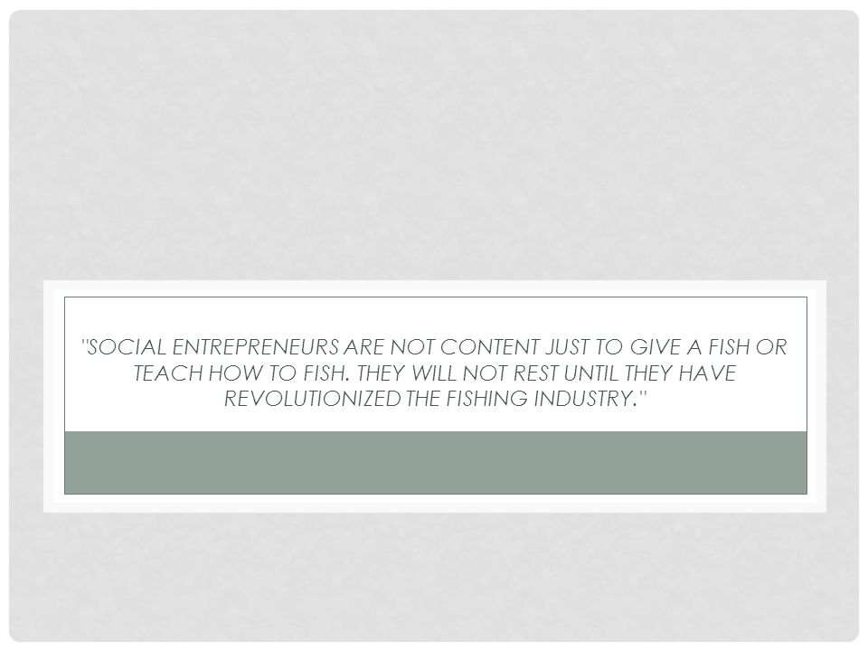 SOCIAL ENTREPRENEURS ARE NOT CONTENT JUST TO GIVE A FISH OR TEACH HOW TO FISH.