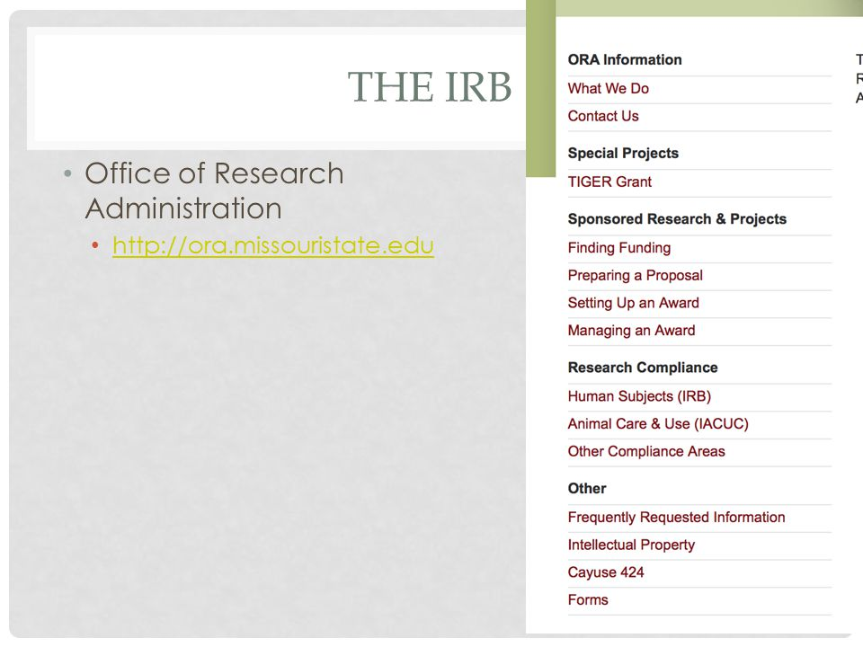 THE IRB Office of Research Administration http://ora.missouristate.edu