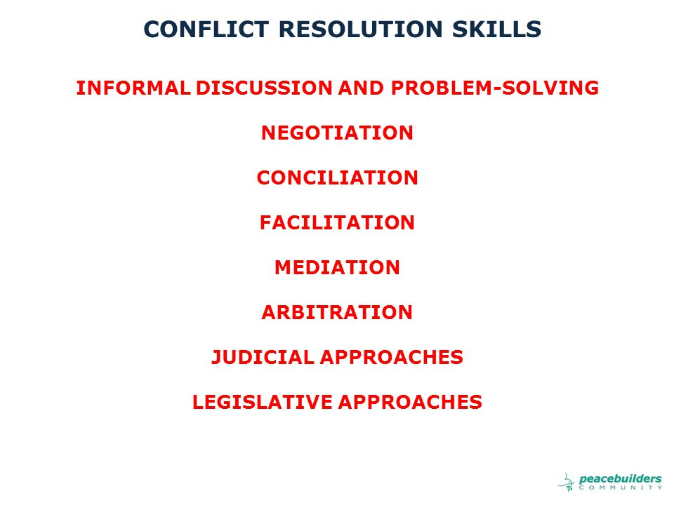 INFORMAL DISCUSSION AND PROBLEM-SOLVING NEGOTIATION CONCILIATION FACILITATION MEDIATION ARBITRATION JUDICIAL APPROACHES LEGISLATIVE APPROACHES CONFLICT RESOLUTION SKILLS