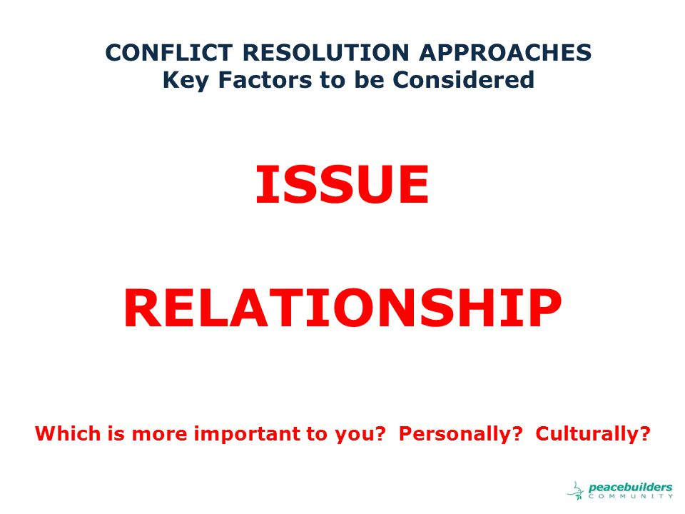 ISSUE RELATIONSHIP Which is more important to you.